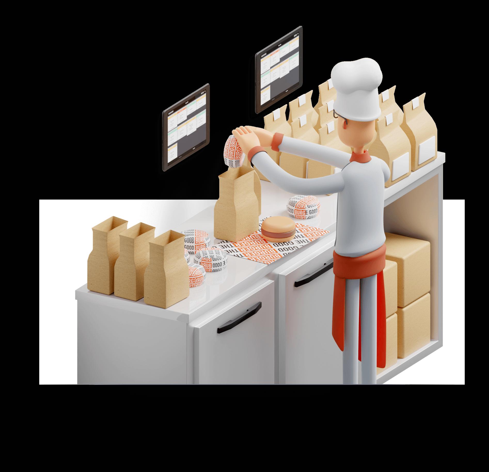 Préparation des commandes cuisines pour la gestion de tous les canaux de livraison avec Cashpad +