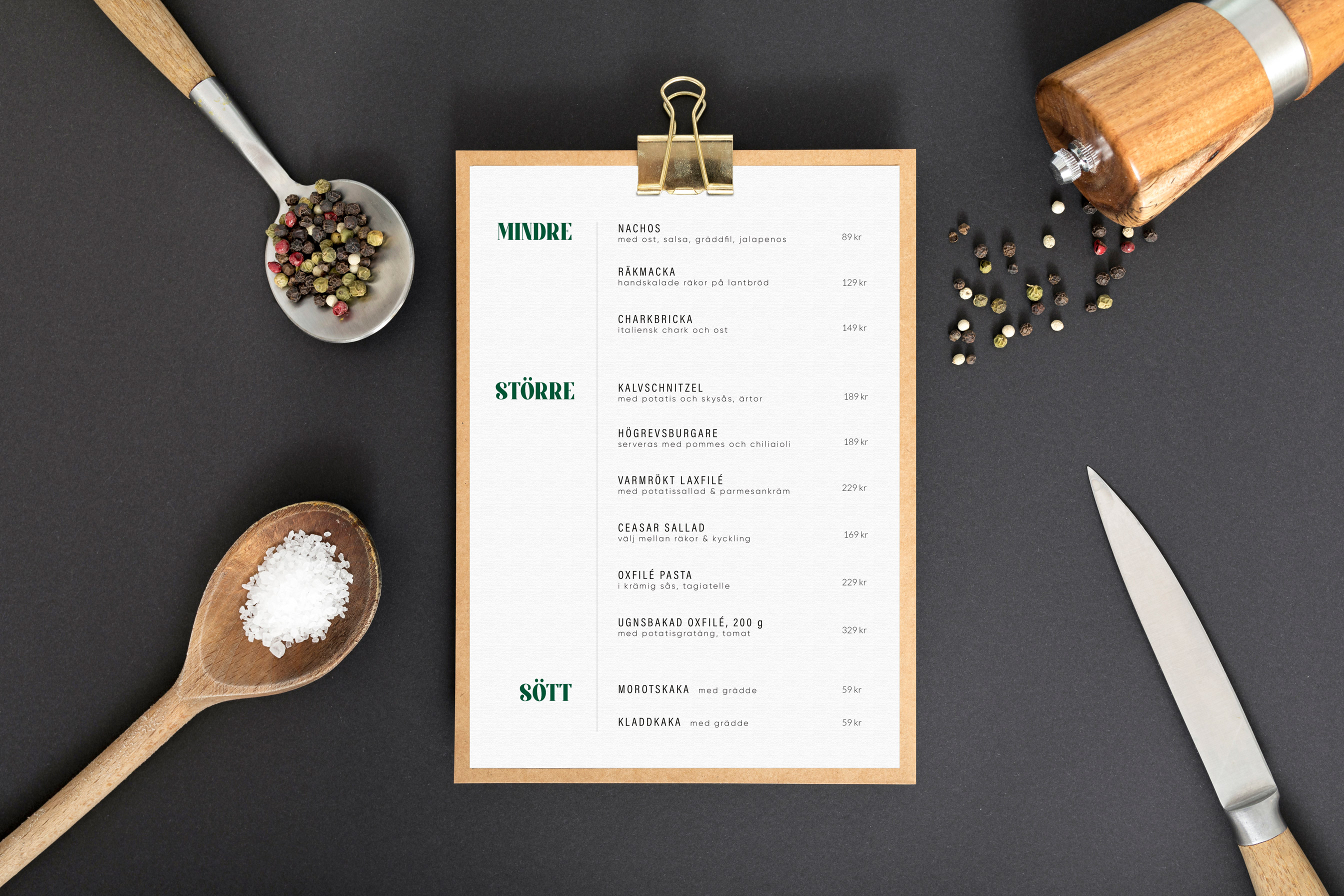 Menu for golf restaurant hole in one