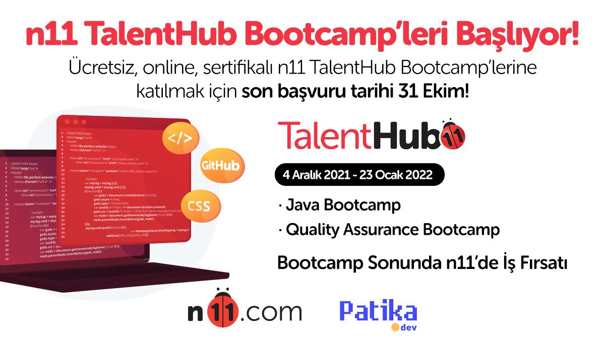 n11 TalentHub Bootcamp'leri