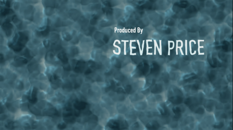 """The name """"Steven Price"""" titled """"Produced by"""" in white text on a blue watery background."""