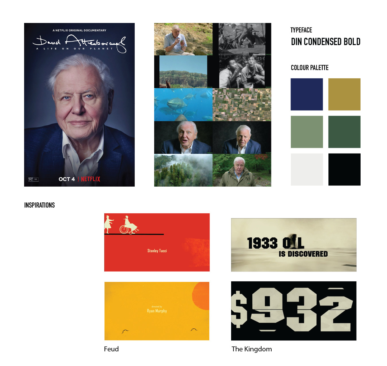 A collection of reference images, typefaces, and colour palettes formed as a moodboard.