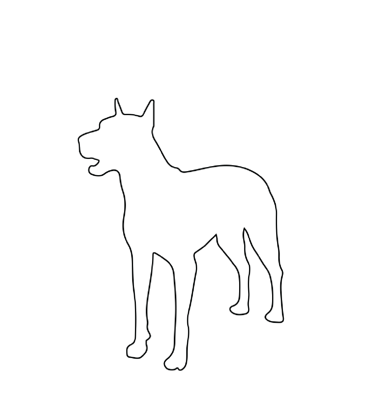 A thin black outline of a dog on a white background.