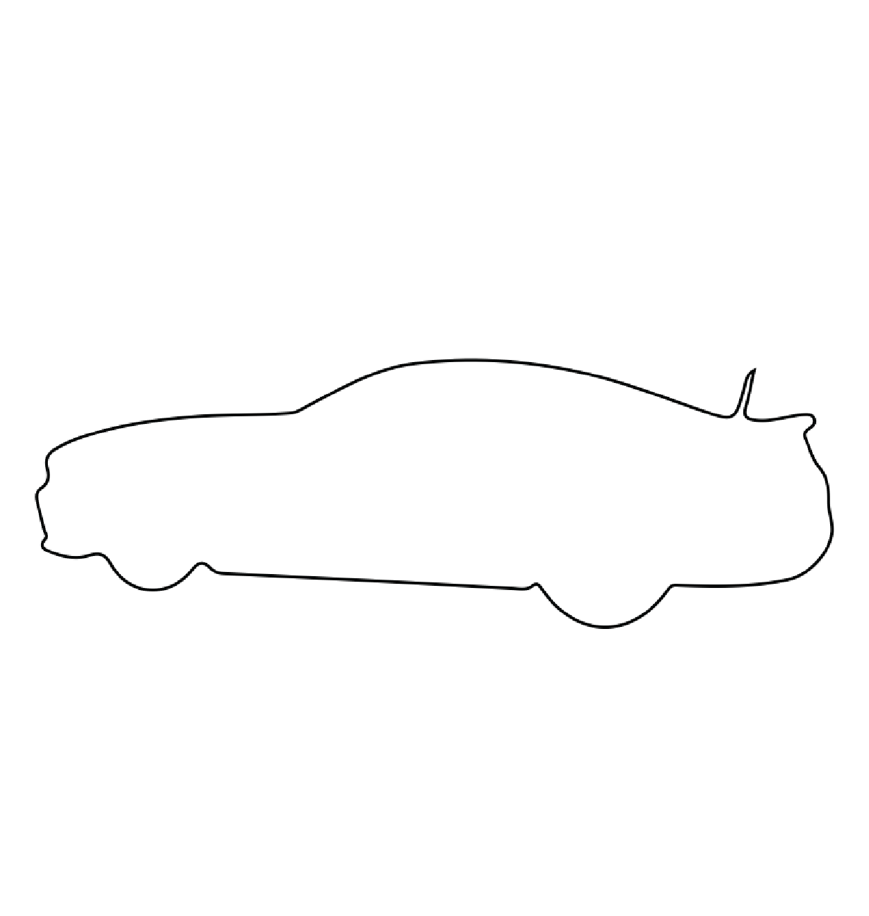 A thin black outline of a car on a white background.