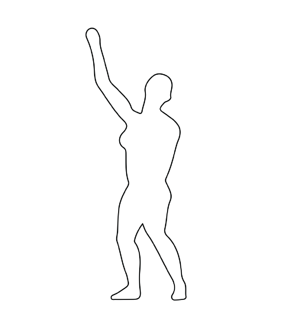 A thin black outline of a dancer  on a white background.