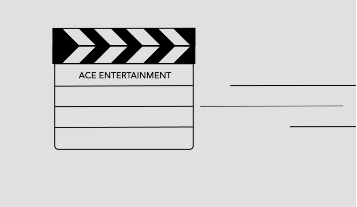 An illustration of a black and white clapperboard with 3 lines moving to the right.