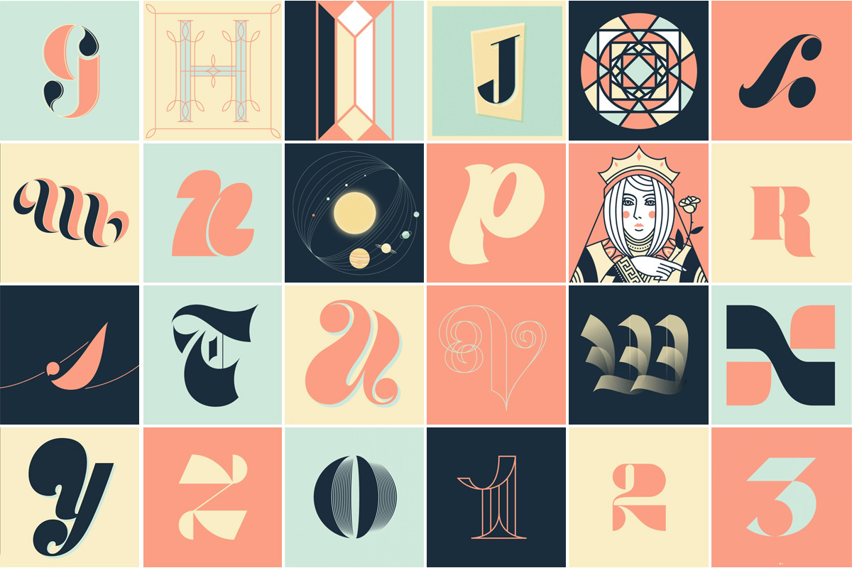 """A grid of custom letters illustrated by Elle Tse during """"36 Days of Type."""""""