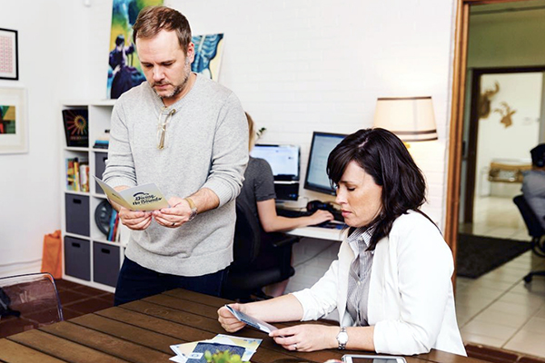 lookthinkmake founders Sean Thompson and Patricia Buchholtz participating in a company exercise.