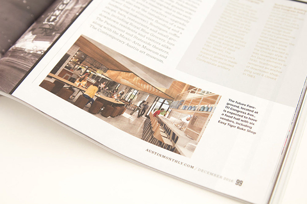 A magazine open to a page with a photo and blurb about lookthinkmake's client Fareground.