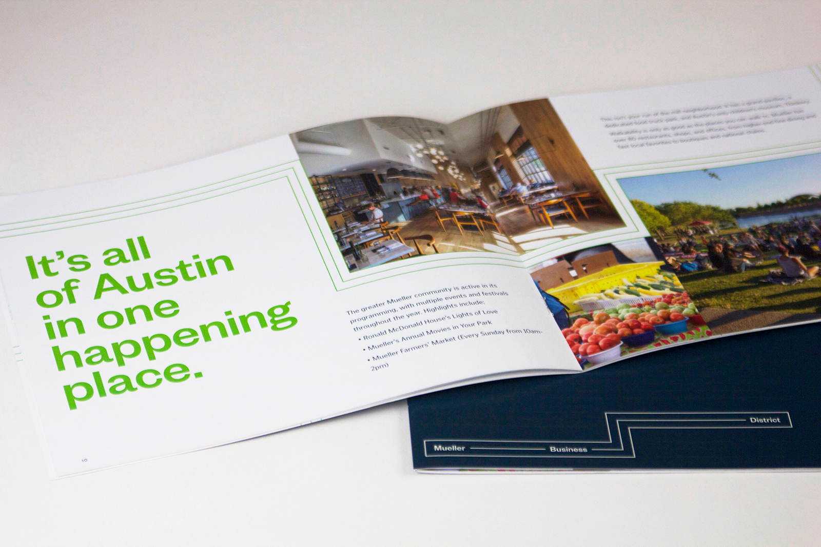 """A Mueller Business District brochure open to a page that reads """"It's all of Austin in one happening place."""""""