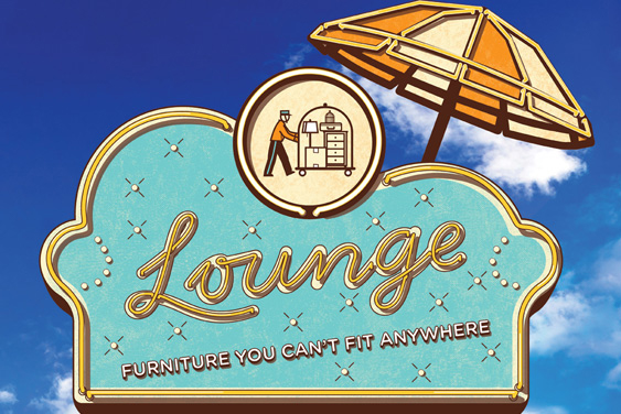 """An ad for Stuff Hotel featuring a sign that says """"Lounge: Furniture you can't fit anywhere."""""""