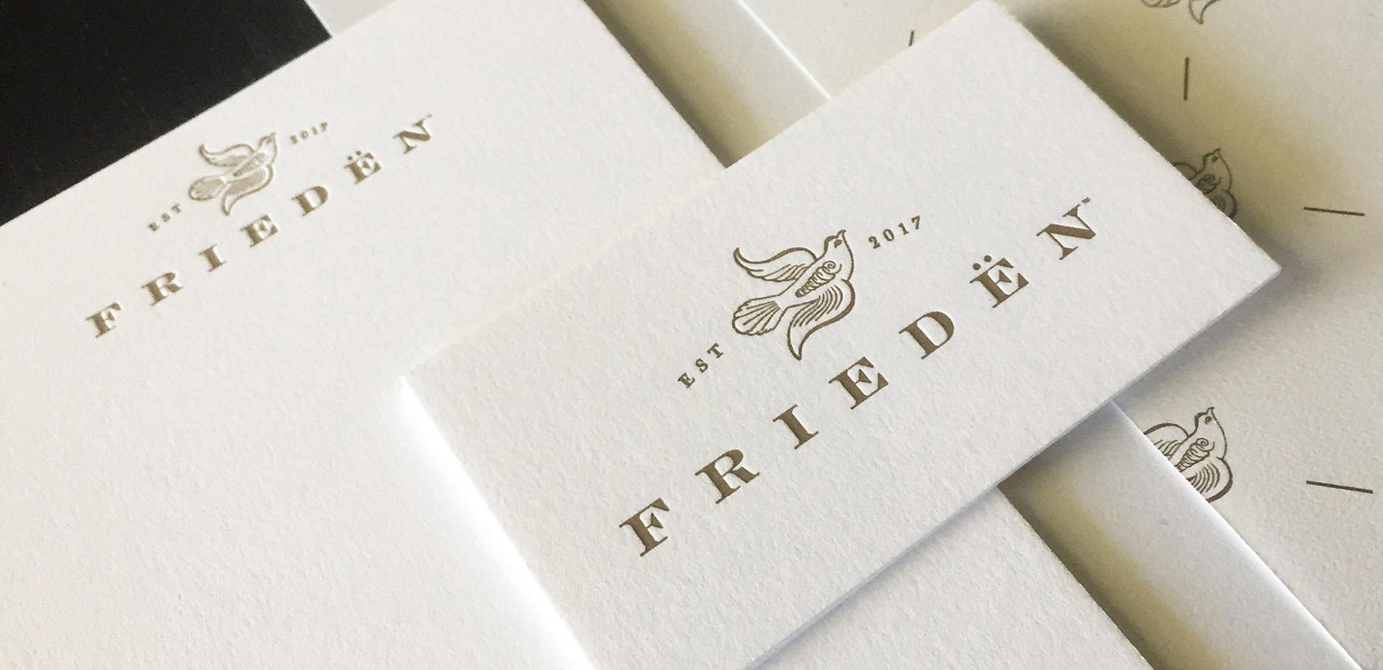 Detail of Frieden business card.