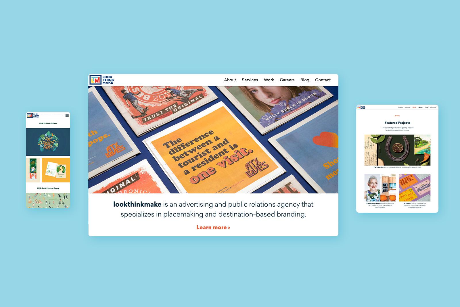 Phone, desktop, and tablet preview of lookthinkmake's website.