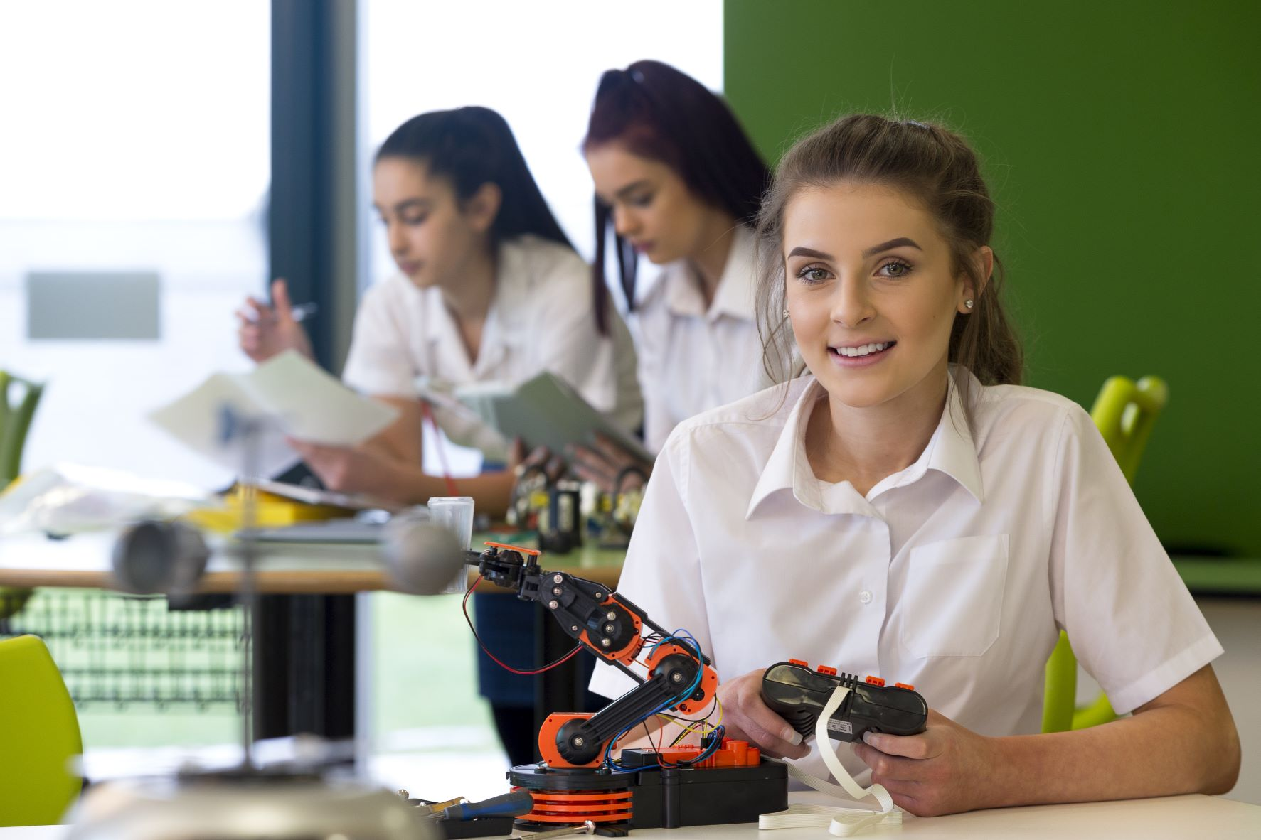 Young female engineer students