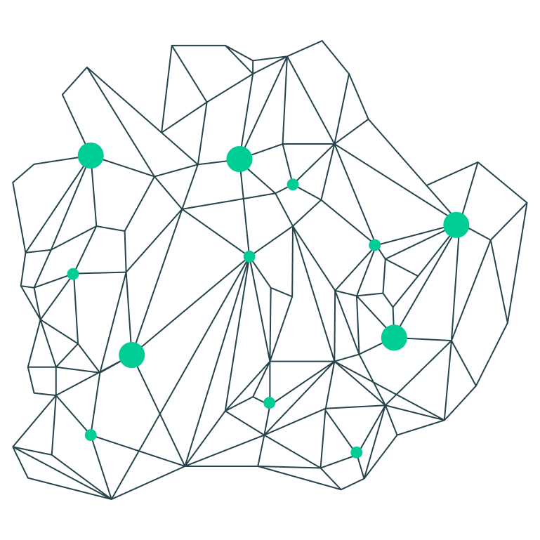 An green line illustration of a mineral.