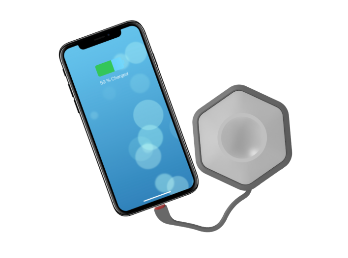 Electron is a cool power bank with built in lightning cable for iPhone and Type-C for Android devices