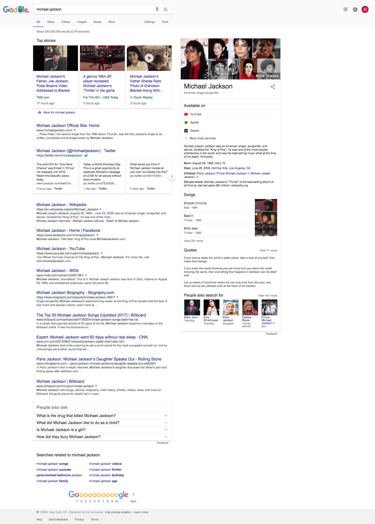 Michael Jackson Google Knowledge Graph