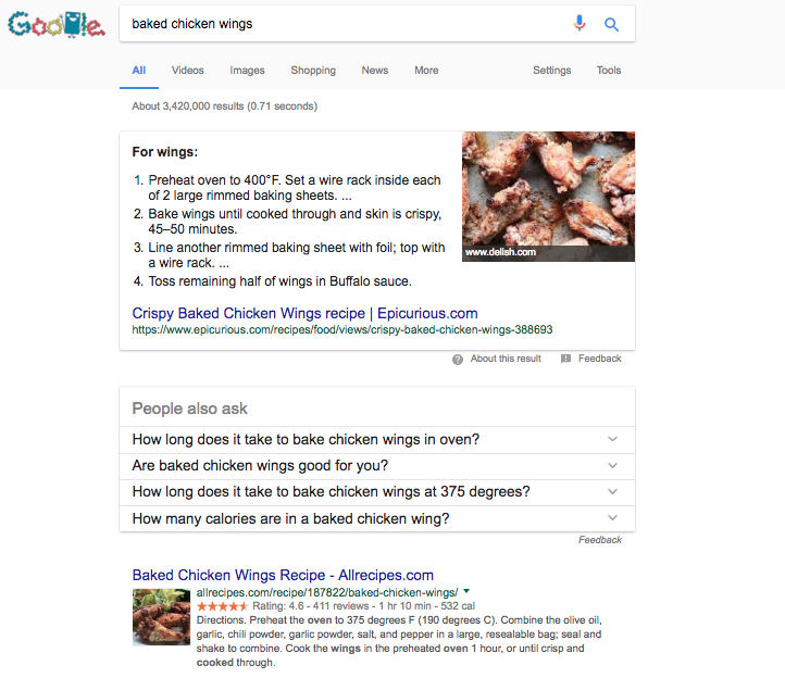 Baked Chicken Wings - Google Featured Snippet