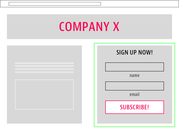 Right Side CTA Landing Page