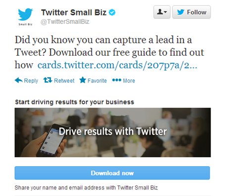 twitter ads - lead capture card