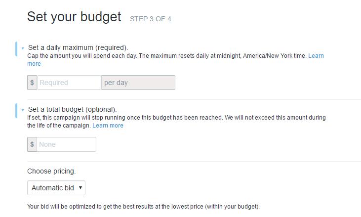 twitter ads - set budget