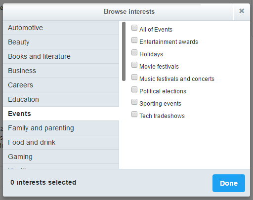 twitter ads - event interests