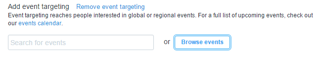 twitter ads - event targeting narrow