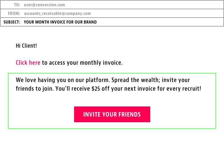 referral link in invoice