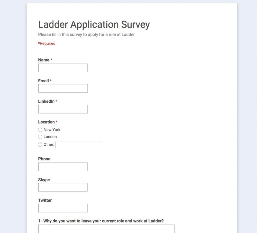 Job Application Survey