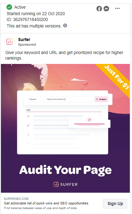 Each time you'll run out of ideas for your ads (or even target groups) you can head on to Facebook Ads Library and get a glimpse of your competitors strategy and creatives