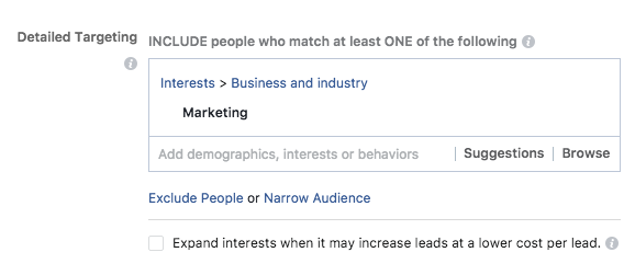 Detailed Targeting Facebook Leads AD