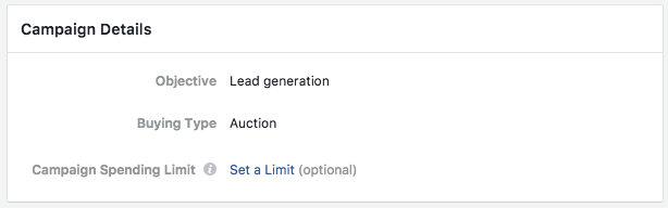 Selection an Objective for Lead Generation Ad in Facebook