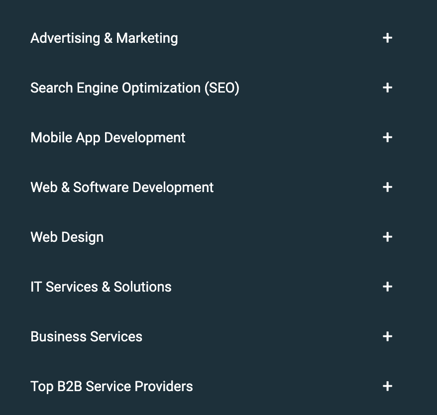 f you need to find a company to provide you with a service within any of these categories (from advertising and marketing to web development to business services), then this is the place for you.