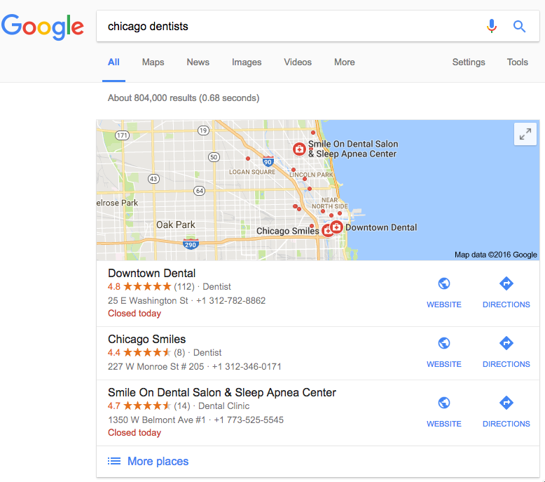 Google Search Results for Chicago Dentist