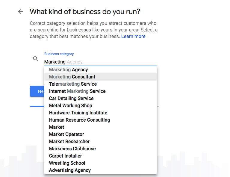 Primary Business Category in Google My Business profile