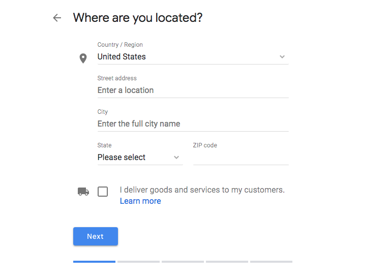 Enter Business Location into Google My Business