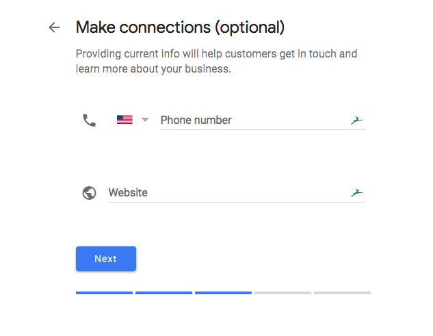Phone number & website in Google My Business