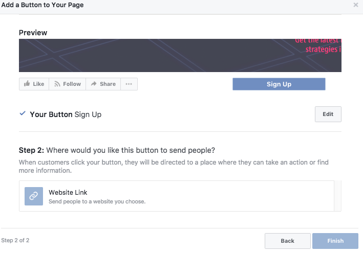 Setting Up Facebook Business Page CTA Button