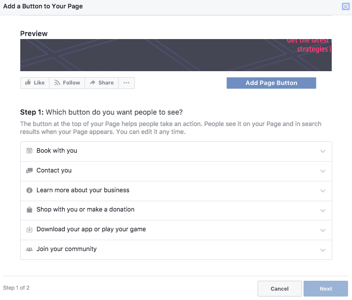 Facebook CTA Button on Business PAge