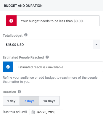 Boosting Facebook Event - Budget and Duration