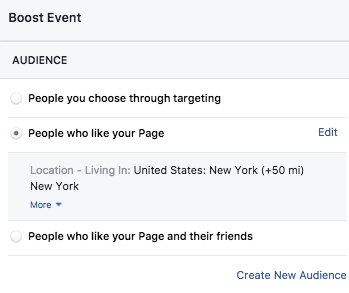 Boost a Facebook Event - Audience Targeting
