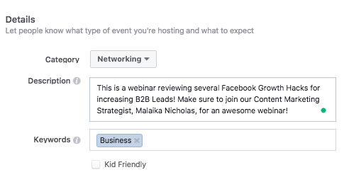 Creating a Facebook Event - Step 3