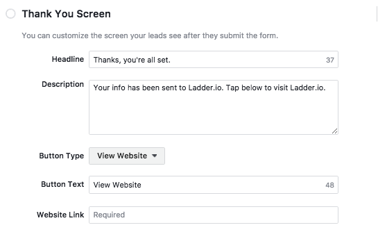 Facebook Lead Ad - Thank You Screen
