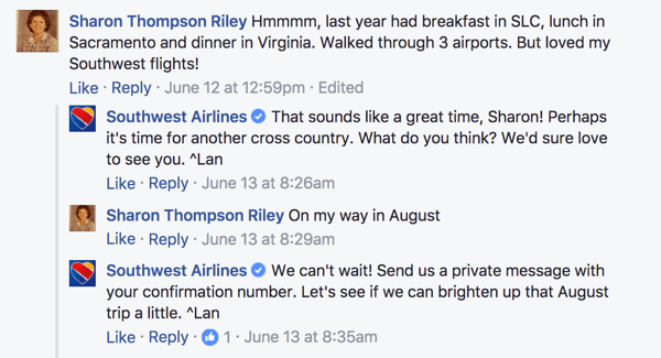 Facebook Conversation with a Brand