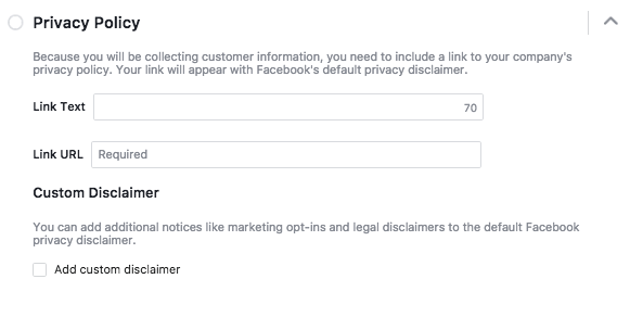 Add a Privacy Policy to Facebook Lead Ad