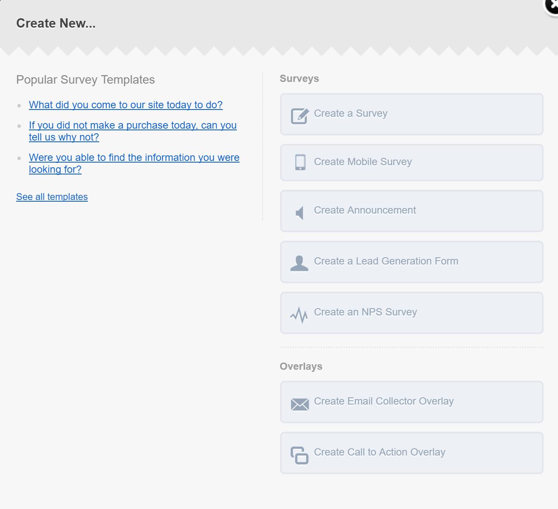 create new qualaroo survey modal