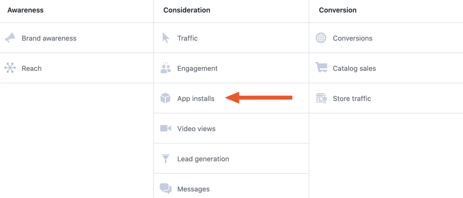 Always use the App installs objective to promote your app. Because for a new user to achieve this goal, they must first install your application.