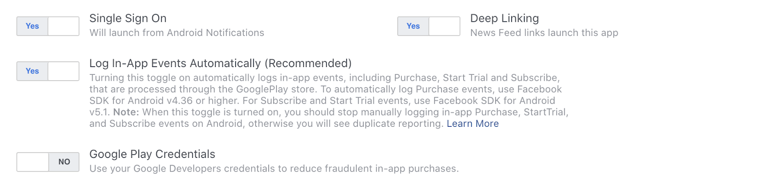 Allow Facebook to automatically log in-app events, which may help save your efforts in the future.