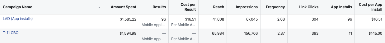 facebook ad results gathered thanks to the facebook pixel