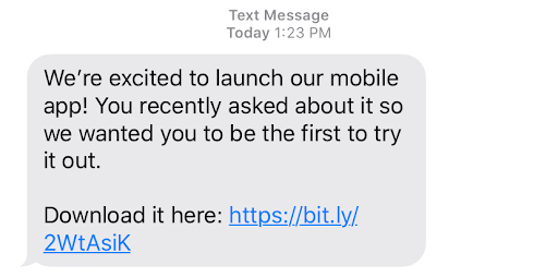 Use SMS messaging to notify your customer base of new features and new products.