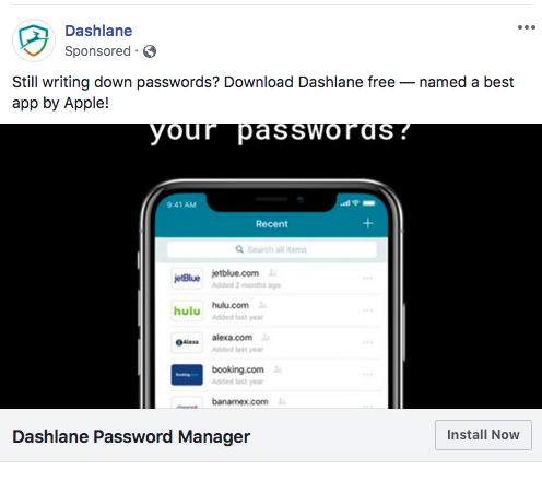Deep Linked Install Ads On Facebook - Dashlane Password Manager